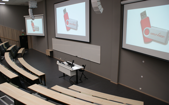 WolfVision VZ-3neo Visualizer installed in an auditorium at BI Norwegian Business school..