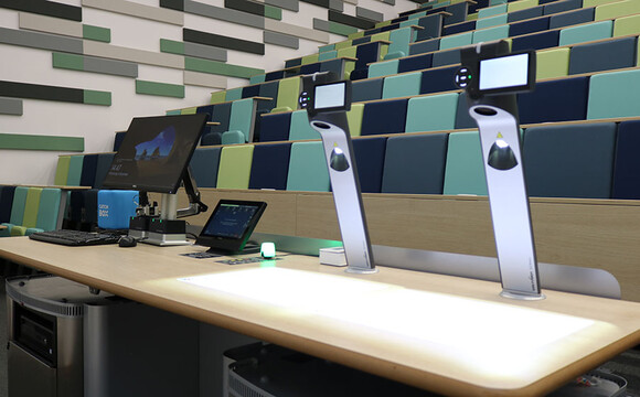 Innovative teaching and social learning space at The University of Warwick, with twin WolfVision Visualizers installed to assist with on-screen presentation of handwriting and other materials
