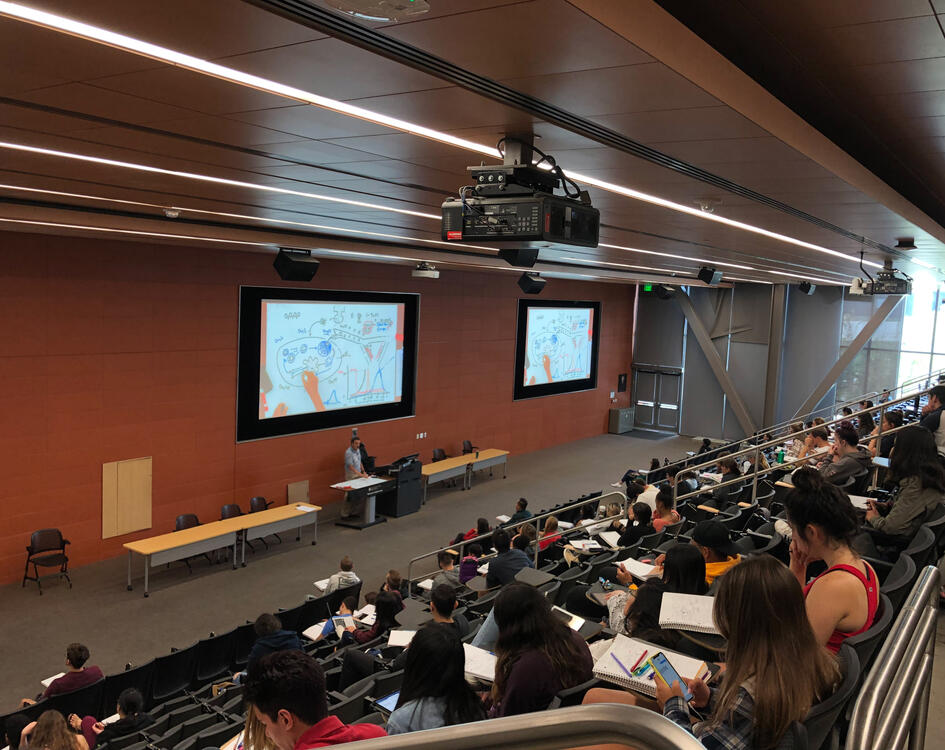 Large lecture hall at SDSU with WolfVision Ceiling Visualizer suspended from the ceiling above the instructor's lectern.