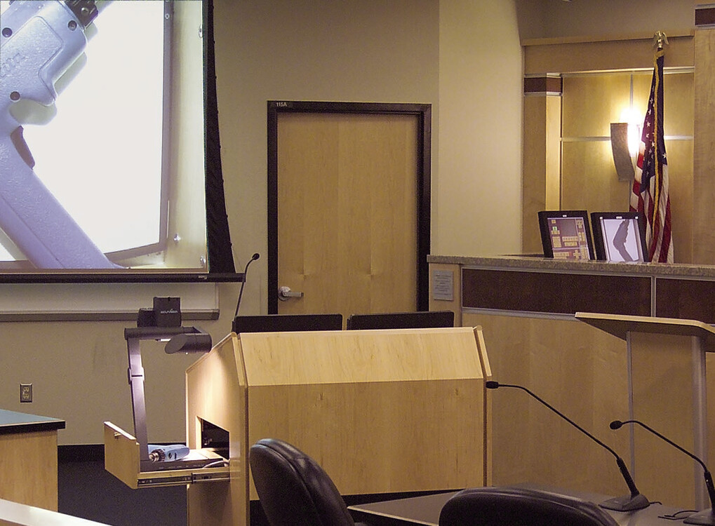 The 21st century courtroom at the Arizona State University College of Law.