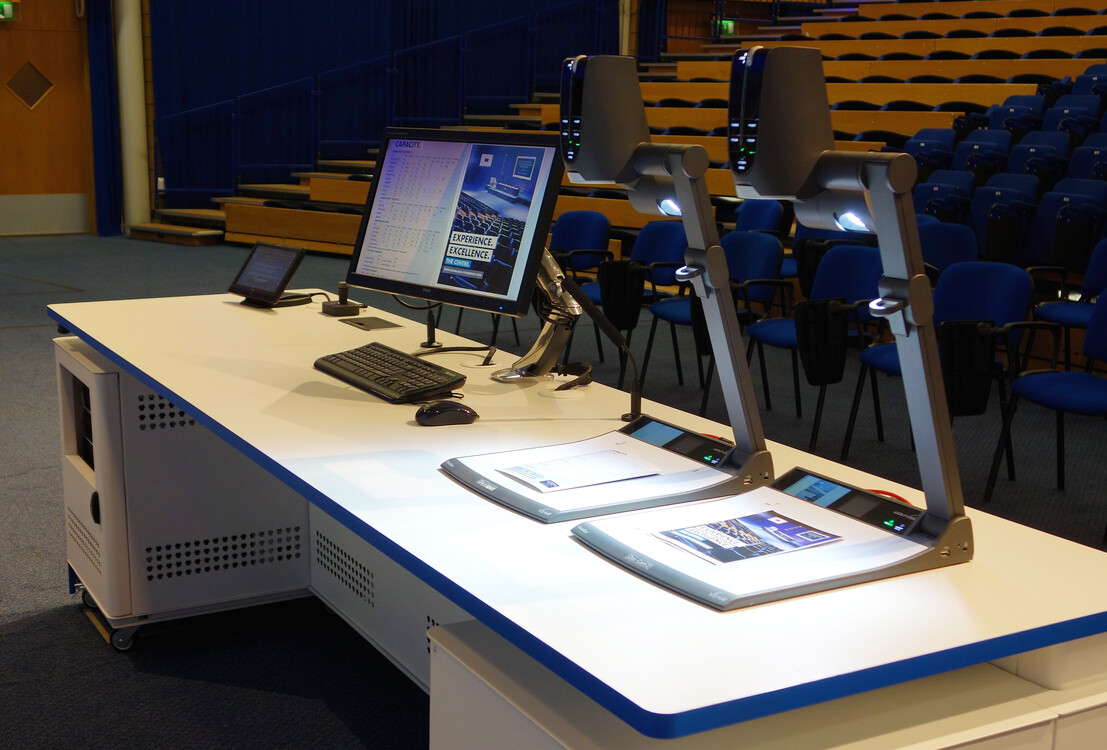Two WolfVision VZ-9.4F Visualizers installed side by side at Heriot-Watt University.