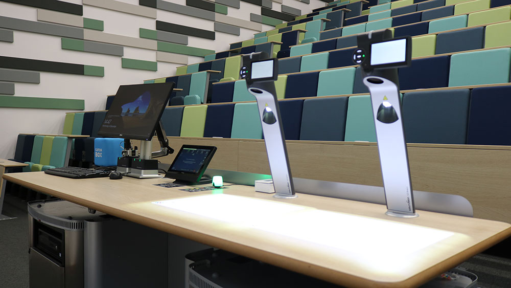 Innovative teaching and social learning space at The University of Warwick, with twin WolfVision Visualizers installed to assist with on-screen presentation of handwriting and other materials.
