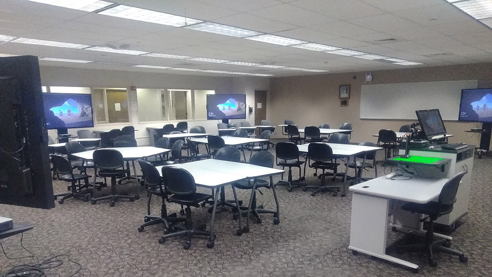 WolfVision vSolution MATRIX active learning classroom collaboration system, installed at Washington State University, USA.