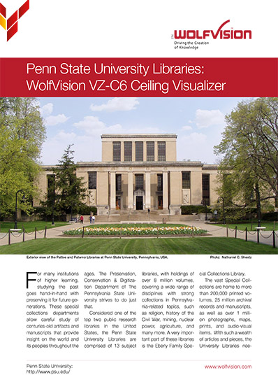 WolfVision case study about the Visualizer installation at the University of Pennsylvania