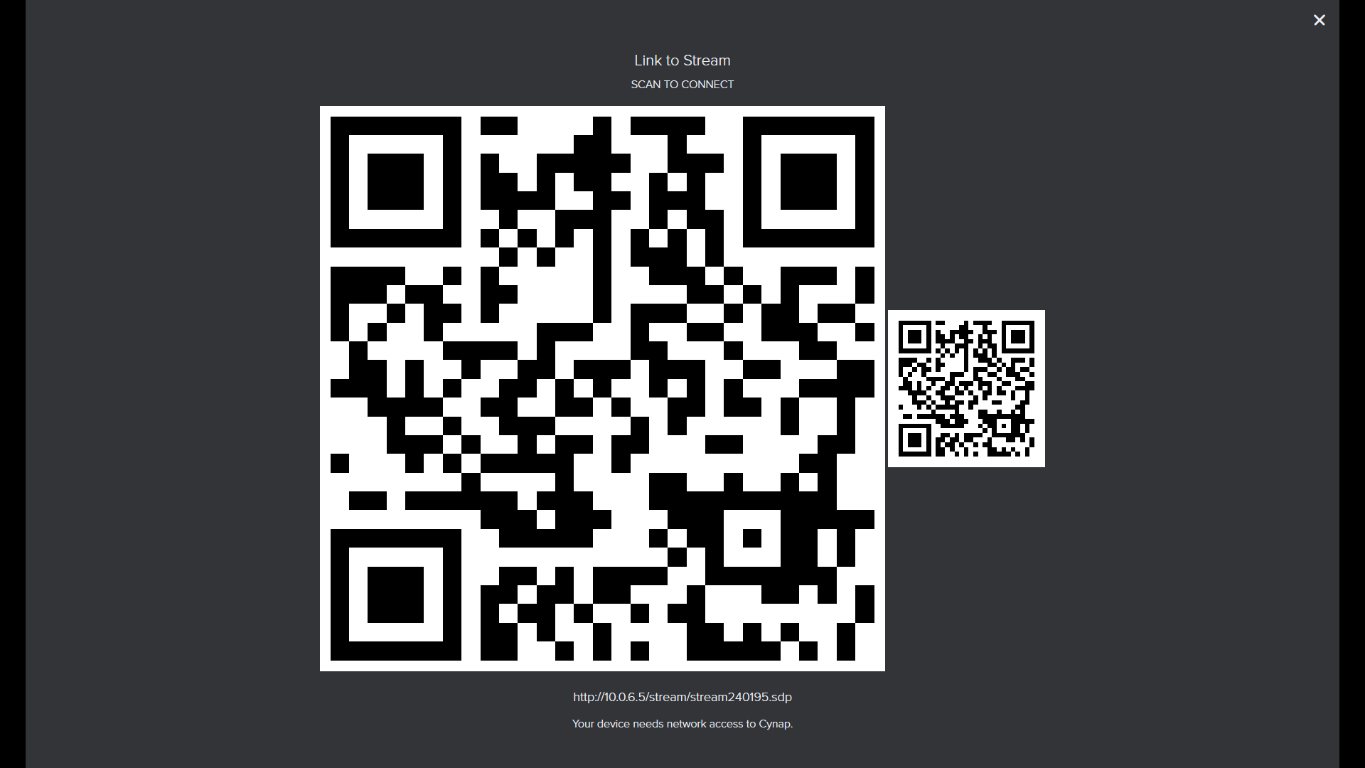 Cynap on-screen QR code
